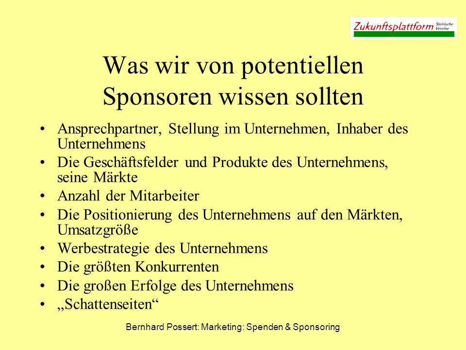 Bernhard Possert: Marketing: Spenden & Sponsoring Was wir von potentiellen Sponsoren wissen sollten Ansprechpartner, Stellung im Unternehmen, Inhaber