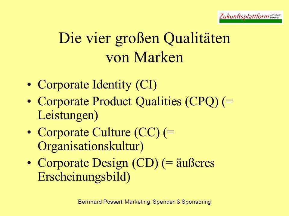 Bernhard Possert: Marketing: Spenden & Sponsoring Corporate Identity (CI) = Werthaltungen Unternehmensphilosophie Wofür steht / kämpft das Unternehmen.