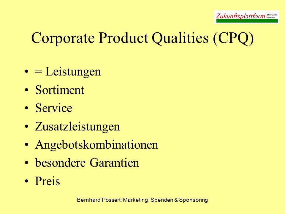 Bernhard Possert: Marketing: Spenden & Sponsoring CSR - Warum.