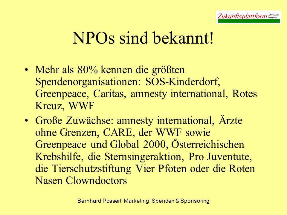 Bernhard Possert: Marketing: Spenden & Sponsoring NPOs sind sympathisch Mehr als 50% bringen den traditionellen gemeinnützigen Organisationen wie den Sternsingern, amnesty international, Greenpeace, WWF, Krebshilfe und Caritas große Sympathie entgegen SOS-Kinderdorf und das Rote Kreuz finden sogar über 80% sehr sympathisch