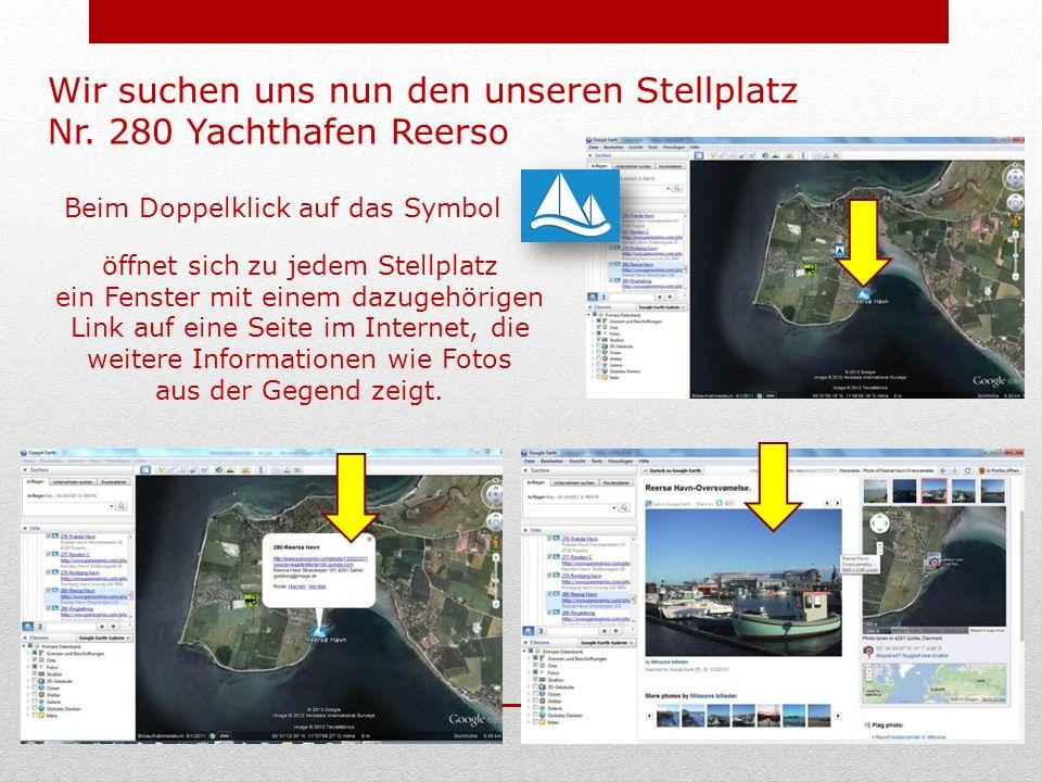 Beim Doppelklick auf das Symbol öffnet sich zu jedem Stellplatz ein Fenster mit einem dazugehörigen Link auf eine Seite im Internet, die weitere Informationen wie Fotos aus der Gegend zeigt.