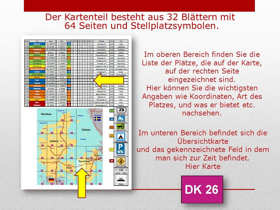 Der Kartenteil besteht aus 32 Blättern mit 64 Seiten und Stellplatzsymbolen.