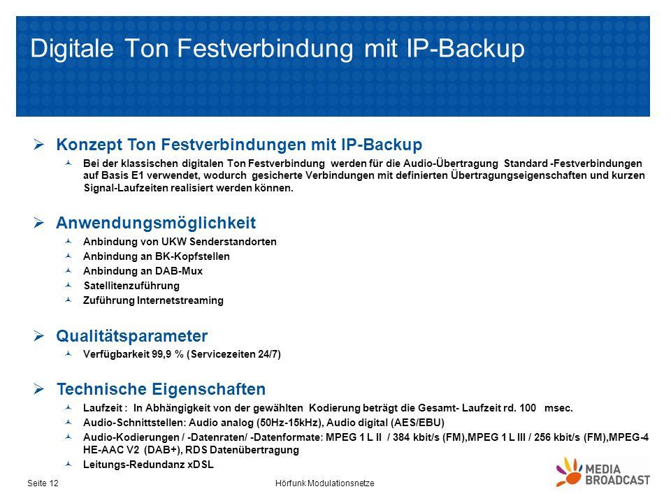 Digitale Ton Festverbindung mit IP-Backup Hörfunk ModulationsnetzeSeite 12 Konzept Ton Festverbindungen mit IP-Backup Bei der klassischen digitalen To