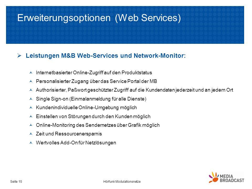 Erweiterungsoptionen (Web Services) Leistungen M&B Web-Services und Network-Monitor: Internetbasierter Online-Zugriff auf den Produktstatus Personalis
