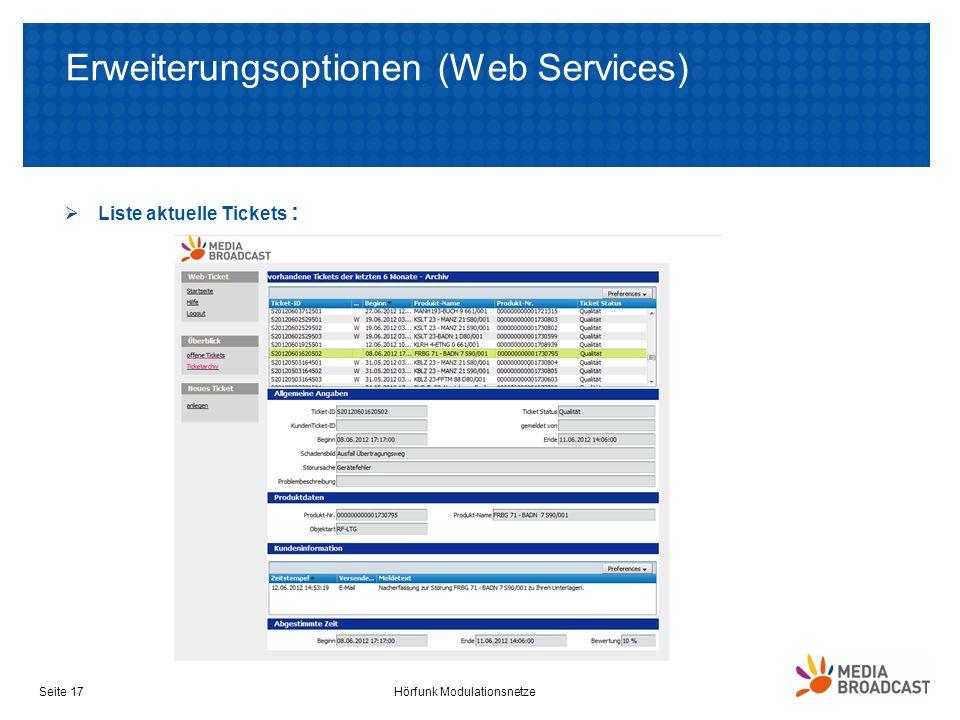Erweiterungsoptionen (Web Services) Liste aktuelle Tickets : Hörfunk ModulationsnetzeSeite 17