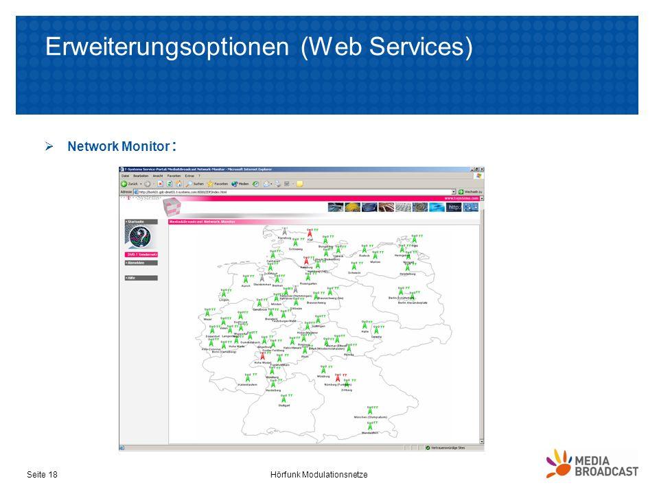 Erweiterungsoptionen (Web Services) Network Monitor : Hörfunk ModulationsnetzeSeite 18