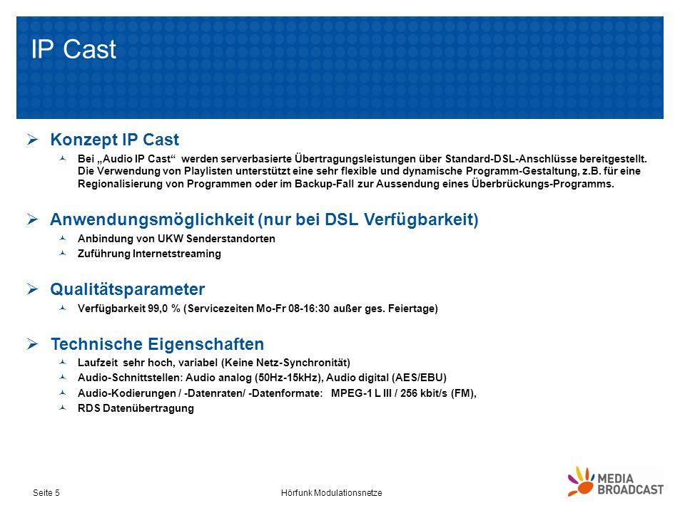 IP Cast Hörfunk ModulationsnetzeSeite 5 Konzept IP Cast Bei Audio IP Cast werden serverbasierte Übertragungsleistungen über Standard-DSL-Anschlüsse be