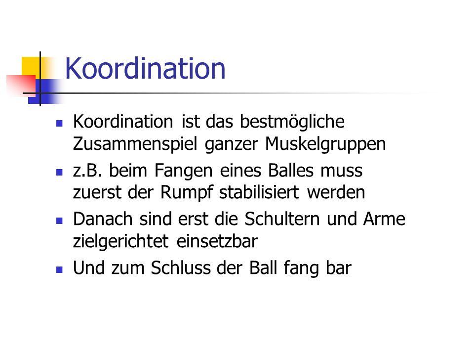 Koordination Koordination ist das bestmögliche Zusammenspiel ganzer Muskelgruppen z.B. beim Fangen eines Balles muss zuerst der Rumpf stabilisiert wer