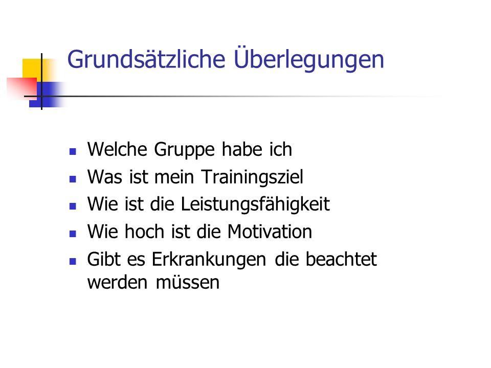 Grundsätzliche Überlegungen Welche Gruppe habe ich Was ist mein Trainingsziel Wie ist die Leistungsfähigkeit Wie hoch ist die Motivation Gibt es Erkra