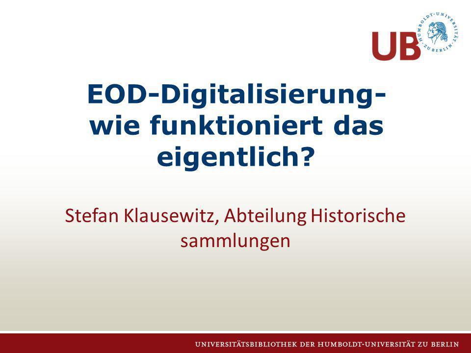Stefan Klausewitz, 23.11.2012 Auftragseingang: ODM Order Data Manager (ODM) – Webapplikation – Abwicklung der EOD-Aufträge vom Eingang bis zur Auslieferung