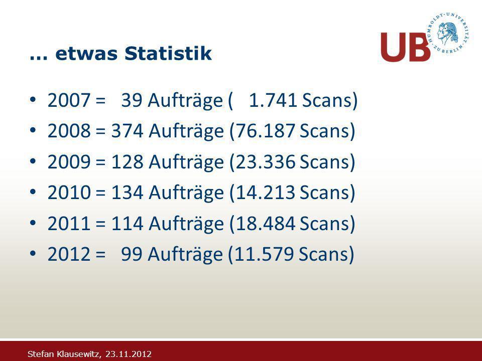 Stefan Klausewitz, 23.11.2012 … etwas Statistik 2007 = 39 Aufträge ( 1.741 Scans) 2008 = 374 Aufträge (76.187 Scans) 2009 = 128 Aufträge (23.336 Scans) 2010 = 134 Aufträge (14.213 Scans) 2011 = 114 Aufträge (18.484 Scans) 2012 = 99 Aufträge (11.579 Scans)