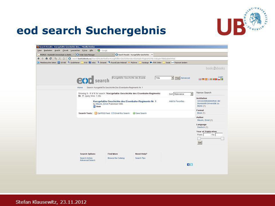 Stefan Klausewitz, 23.11.2012 eod search Suchergebnis