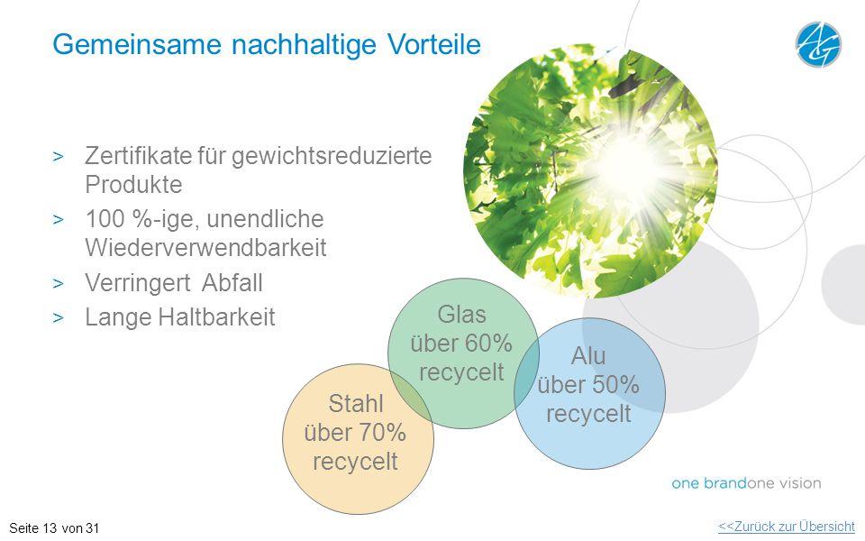Gemeinsame nachhaltige Vorteile > Zertifikate für gewichtsreduzierte Produkte > 100 %-ige, unendliche Wiederverwendbarkeit > Verringert Abfall > Lange