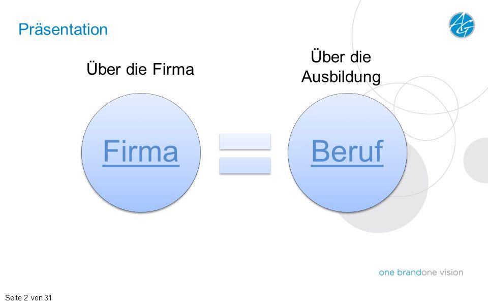 Präsentation Seite 2 von 31 FirmaBeruf Über die Firma Über die Ausbildung