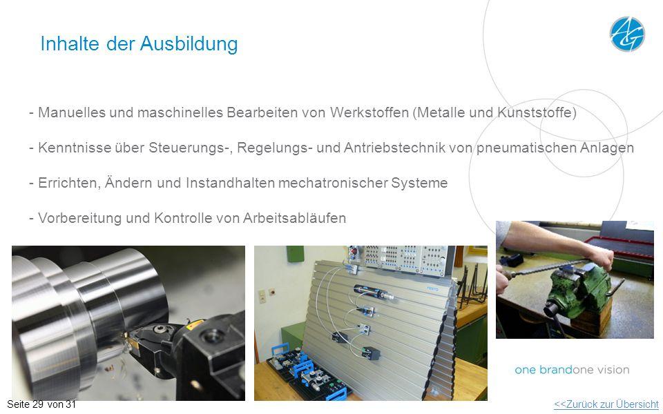 Inhalte der Ausbildung - Manuelles und maschinelles Bearbeiten von Werkstoffen (Metalle und Kunststoffe) - Kenntnisse über Steuerungs-, Regelungs- und