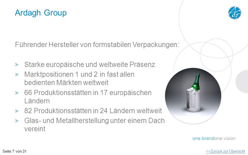 Ardagh Group Führender Hersteller von formstabilen Verpackungen: > Starke europäische und weltweite Präsenz > Marktpositionen 1 und 2 in fast allen be