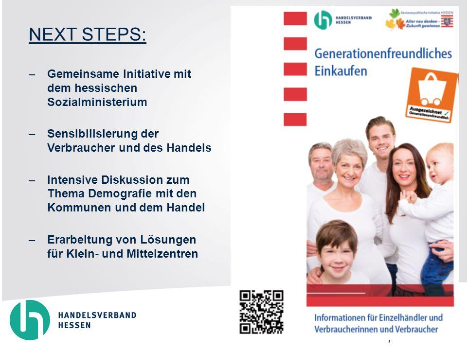 NEXT STEPS: –Gemeinsame Initiative mit dem hessischen Sozialministerium –Sensibilisierung der Verbraucher und des Handels –Intensive Diskussion zum Thema Demografie mit den Kommunen und dem Handel –Erarbeitung von Lösungen für Klein- und Mittelzentren