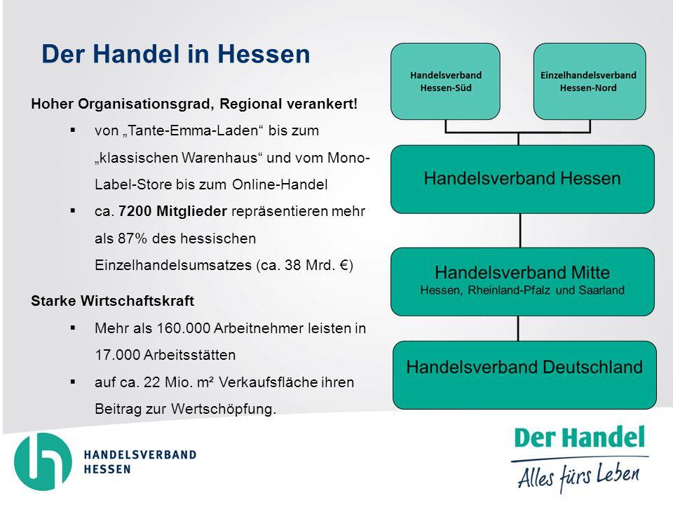 Der Handel in Hessen Hoher Organisationsgrad, Regional verankert.