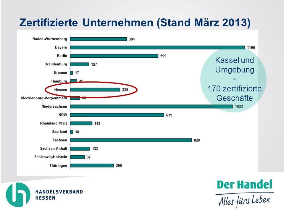 Zertifizierte Unternehmen (Stand März 2013) Kassel und Umgebung = 170 zertifizierte Geschäfte