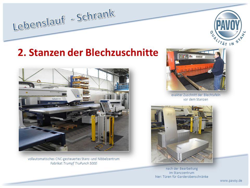 2. Stanzen der Blechzuschnitte www.pavoy.de nach der Bearbeitung im Stanzzentrum hier: Türen für Garderobenschränke vollautomatisches CNC-gesteuertes