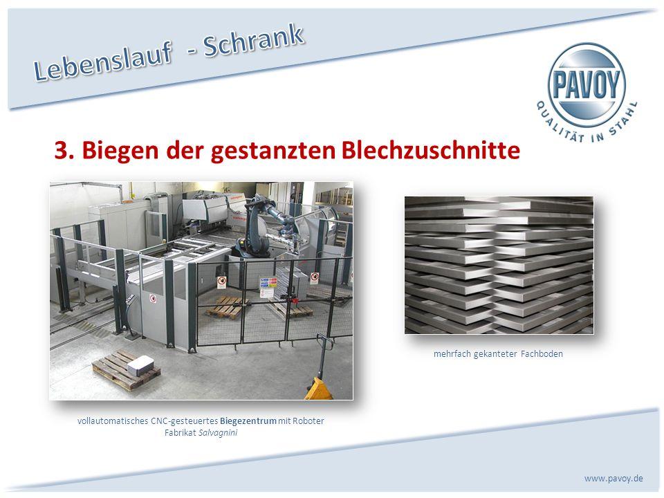 3. Biegen der gestanzten Blechzuschnitte www.pavoy.de vollautomatisches CNC-gesteuertes Biegezentrum mit Roboter Fabrikat Salvagnini mehrfach gekantet