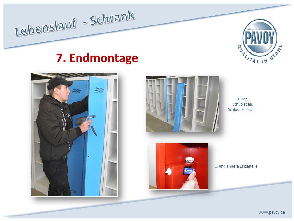 7. Endmontage www.pavoy.de … und andere Einzelteile Türen, Schubladen, Schlösser usw. …