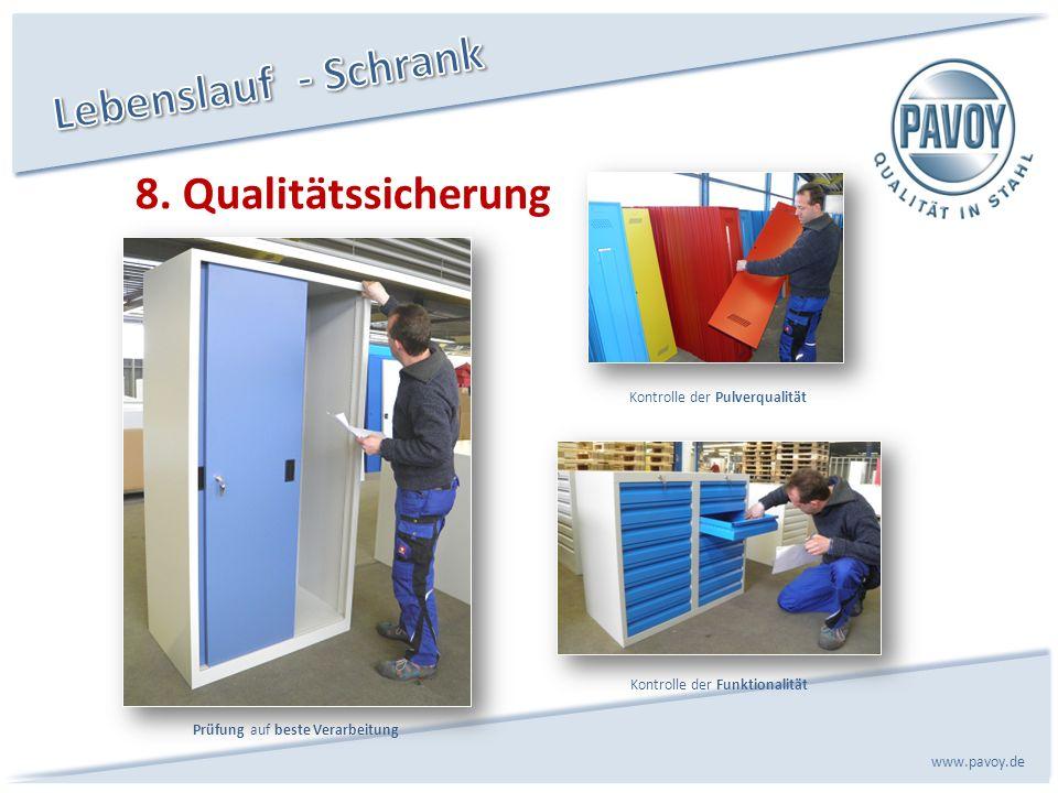 8. Qualitätssicherung www.pavoy.de Prüfung auf beste Verarbeitung Kontrolle der Funktionalität Kontrolle der Pulverqualität