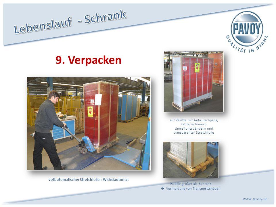 9. Verpacken www.pavoy.de Palette größer als Schrank Vermeidung von Transportschäden vollautomatischer Stretchfolien-Wickelautomat auf Palette mit Ant