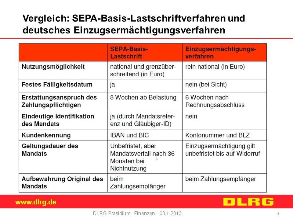 www.dlrg.de DLRG-Präsidium - Finanzen - 03.1-2013 Vergleich: SEPA-Basis-Lastschriftverfahren und deutsches Einzugsermächtigungsverfahren 6