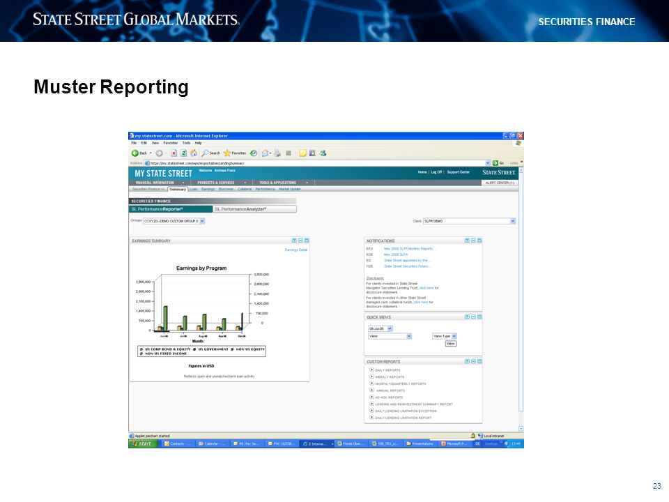 23 SECURITIES FINANCE Muster Reporting