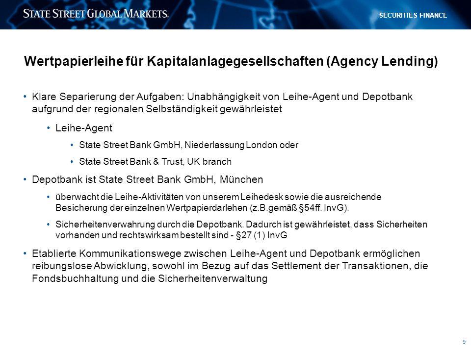 9 SECURITIES FINANCE Wertpapierleihe für Kapitalanlagegesellschaften (Agency Lending) Klare Separierung der Aufgaben: Unabhängigkeit von Leihe-Agent u