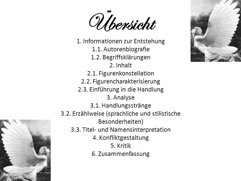 Übersicht 1. Informationen zur Entstehung 1.1. Autorenbiografie 1.2. Begriffsklärungen 2. Inhalt 2.1. Figurenkonstellation 2.2. Figurencharakterisieru