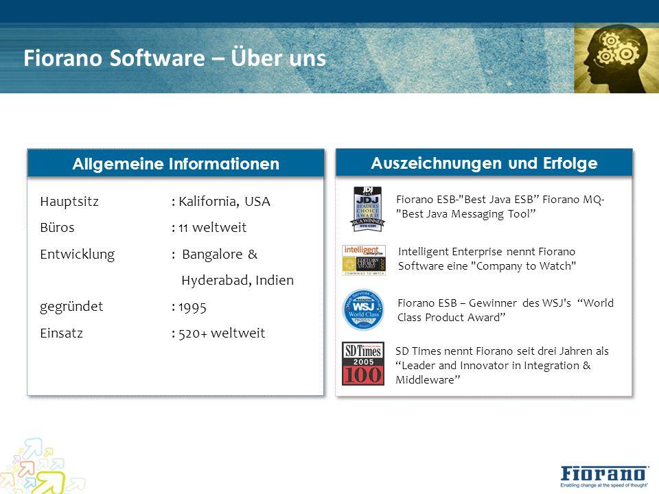 Fiorano Software – Über uns Allgemeine Informationen Hauptsitz: Kalifornia, USA Büros: 11 weltweit Entwicklung: Bangalore & Hyderabad, Indien gegründe