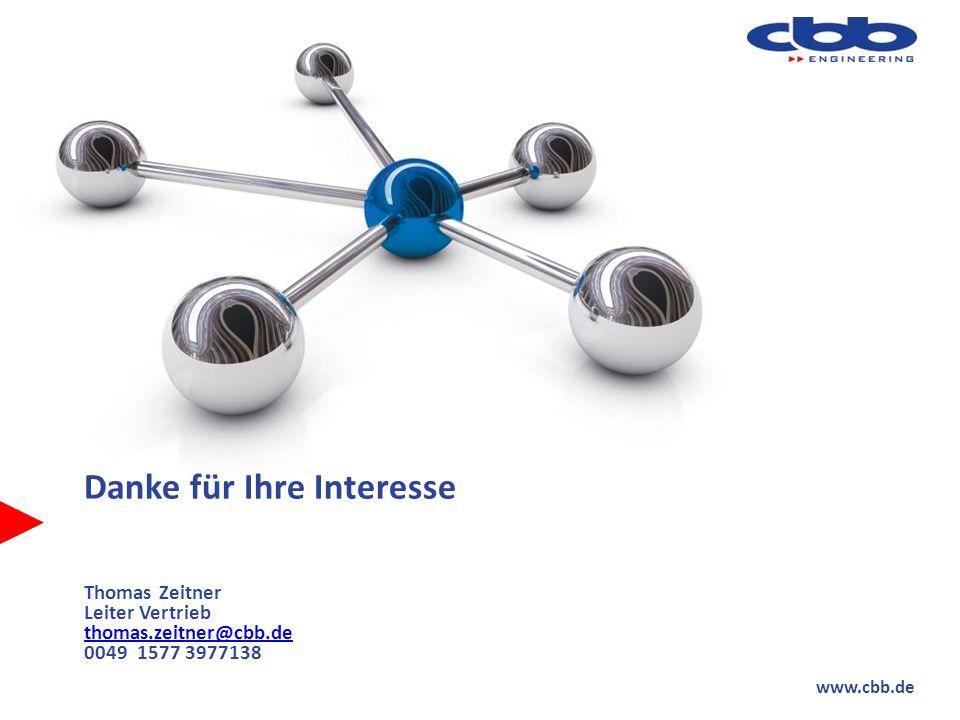 www.cbb.de Danke für Ihre Interesse Thomas Zeitner Leiter Vertrieb thomas.zeitner@cbb.de 0049 1577 3977138 thomas.zeitner@cbb.de