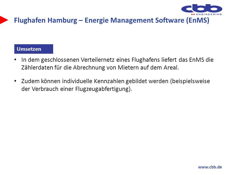 www.cbb.de Flughafen Hamburg – Energie Management Software (EnMS) In dem geschlossenen Verteilernetz eines Flughafens liefert das EnMS die Zählerdaten