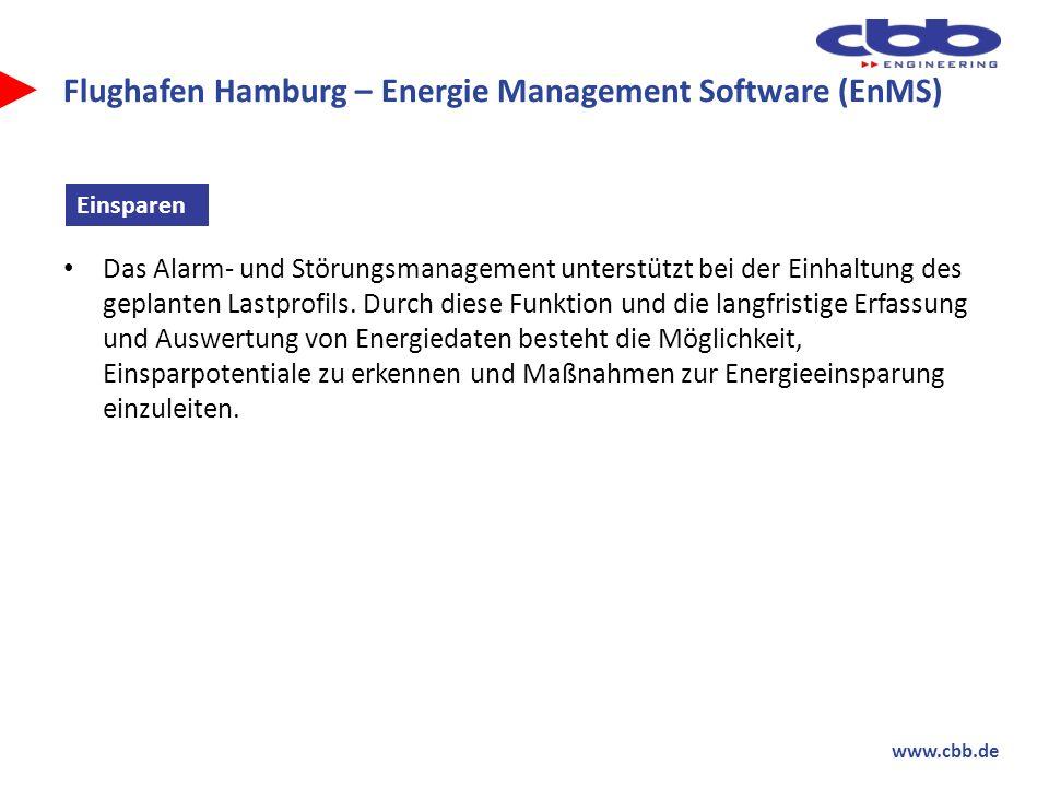www.cbb.de Flughafen Hamburg – Energie Management Software (EnMS) Das Alarm- und Störungsmanagement unterstützt bei der Einhaltung des geplanten Lastp