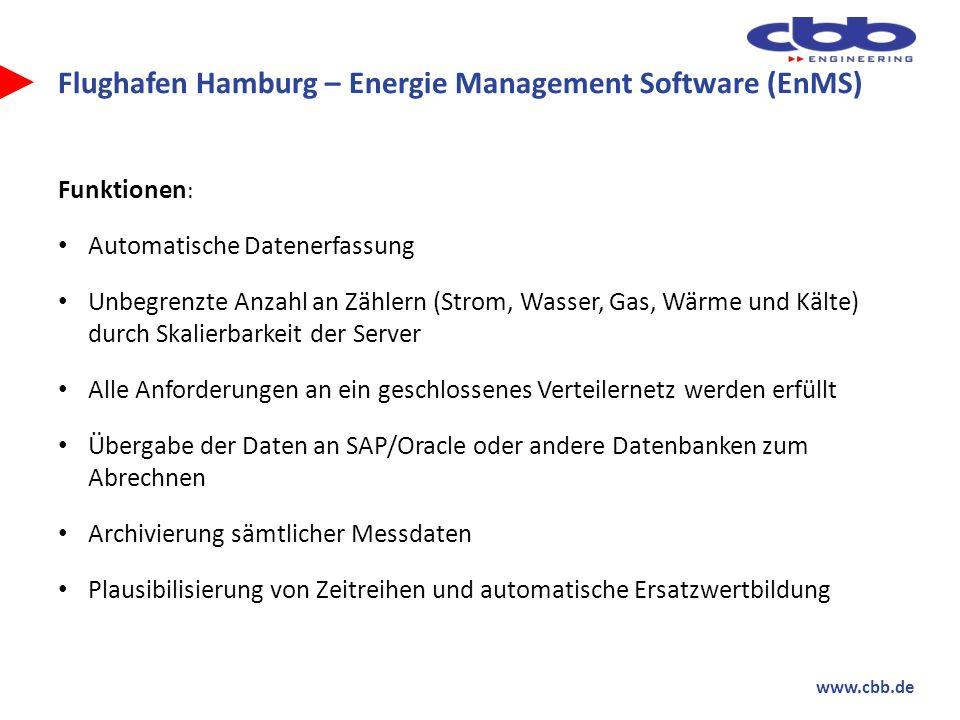 www.cbb.de Flughafen Hamburg – Energie Management Software (EnMS) Funktionen : Energie Management System ISO 50001, Lastmanagement Messwerterfassung ist revisionssicher Qualitätsgeprüfte Stammdaten Weitere Anforderungen im Baukastenprinzip integrierbar