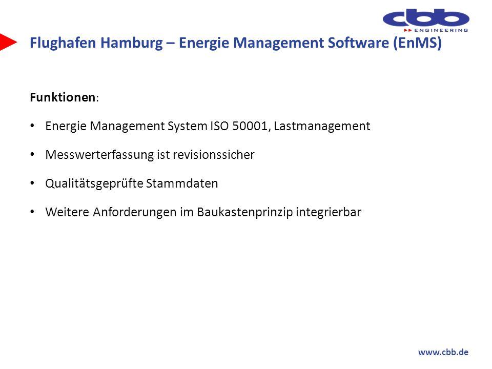 www.cbb.de Flughafen Hamburg – Energie Management Software (EnMS) Funktionen : Energie Management System ISO 50001, Lastmanagement Messwerterfassung i