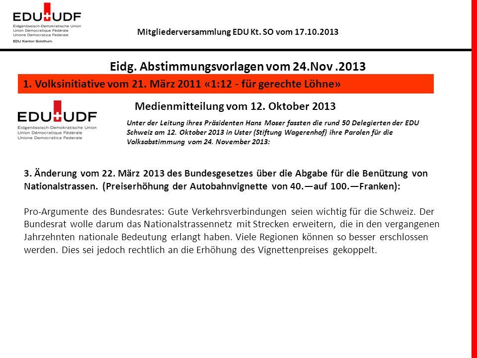 Mitgliederversammlung EDU Kt. SO vom 17.10.2013 Eidg.