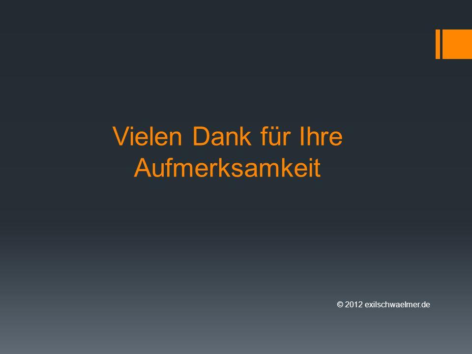Vielen Dank für Ihre Aufmerksamkeit © 2012 exilschwaelmer.de