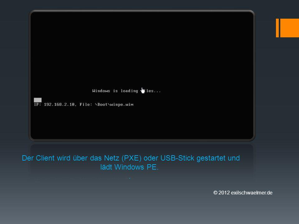 Der Client wird über das Netz (PXE) oder USB-Stick gestartet und lädt Windows PE..