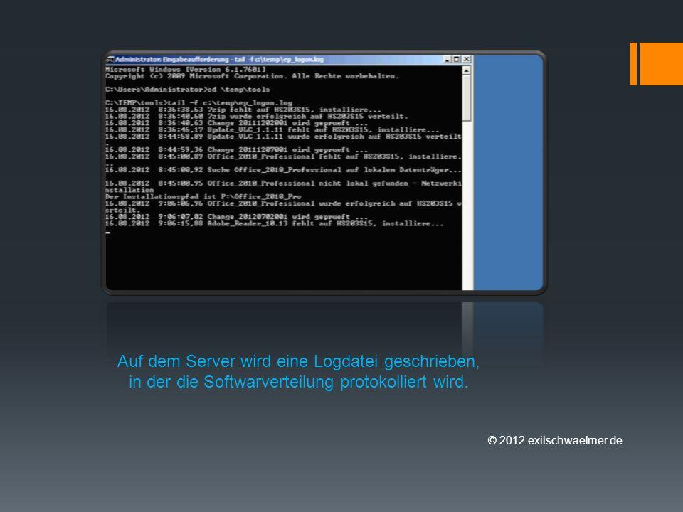 © 2012 exilschwaelmer.de Auf dem Server wird eine Logdatei geschrieben, in der die Softwarverteilung protokolliert wird.