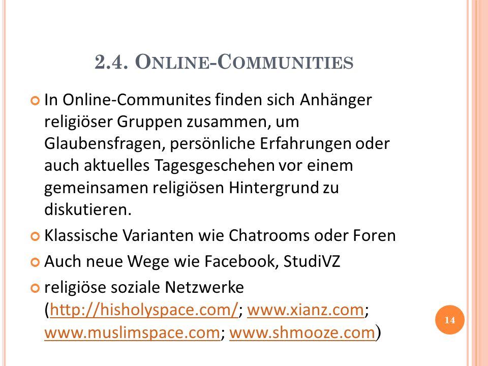 2.4. O NLINE -C OMMUNITIES In Online-Communites finden sich Anhänger religiöser Gruppen zusammen, um Glaubensfragen, persönliche Erfahrungen oder auch