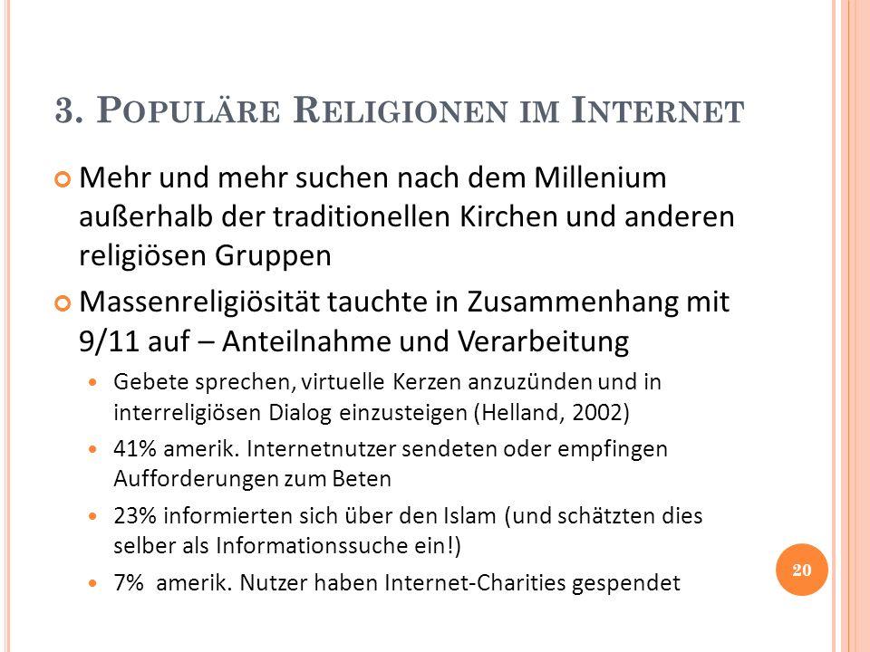 3. P OPULÄRE R ELIGIONEN IM I NTERNET Mehr und mehr suchen nach dem Millenium außerhalb der traditionellen Kirchen und anderen religiösen Gruppen Mass