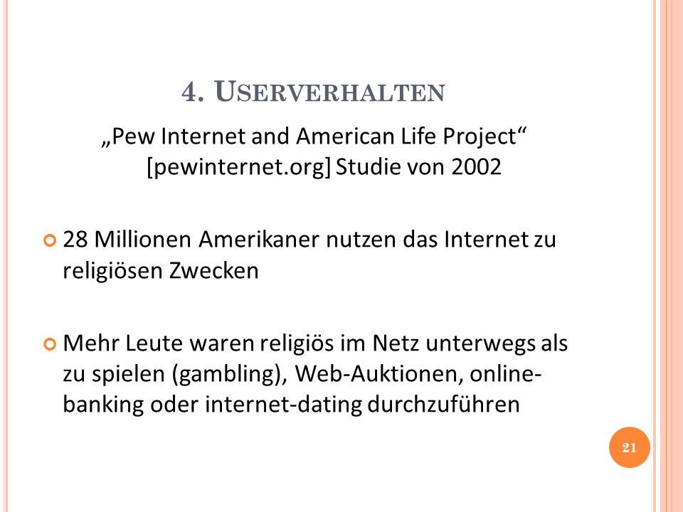 4. U SERVERHALTEN Pew Internet and American Life Project [pewinternet.org] Studie von 2002 28 Millionen Amerikaner nutzen das Internet zu religiösen Z
