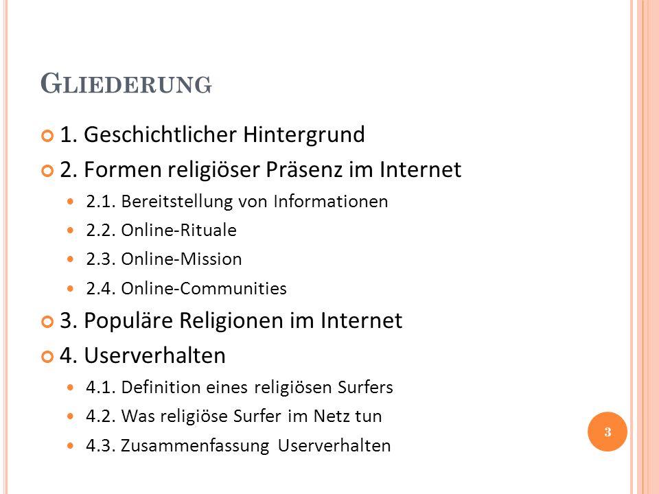 G LIEDERUNG 1. Geschichtlicher Hintergrund 2. Formen religiöser Präsenz im Internet 2.1.