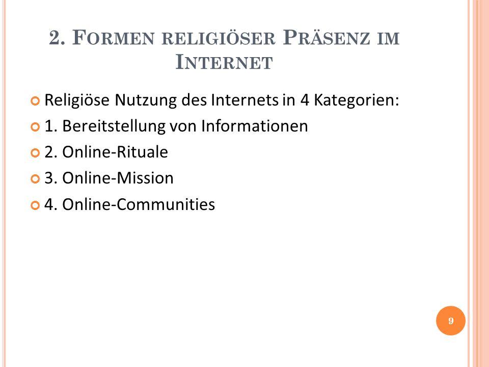 2. F ORMEN RELIGIÖSER P RÄSENZ IM I NTERNET Religiöse Nutzung des Internets in 4 Kategorien: 1.