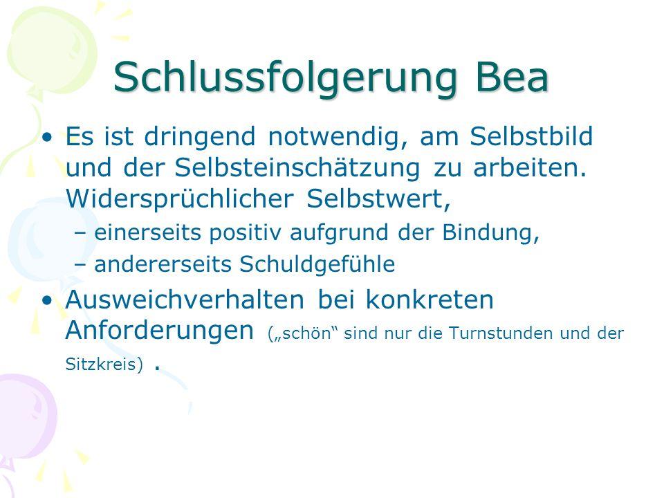 Schlussfolgerung Bea Es ist dringend notwendig, am Selbstbild und der Selbsteinschätzung zu arbeiten. Widersprüchlicher Selbstwert, –einerseits positi
