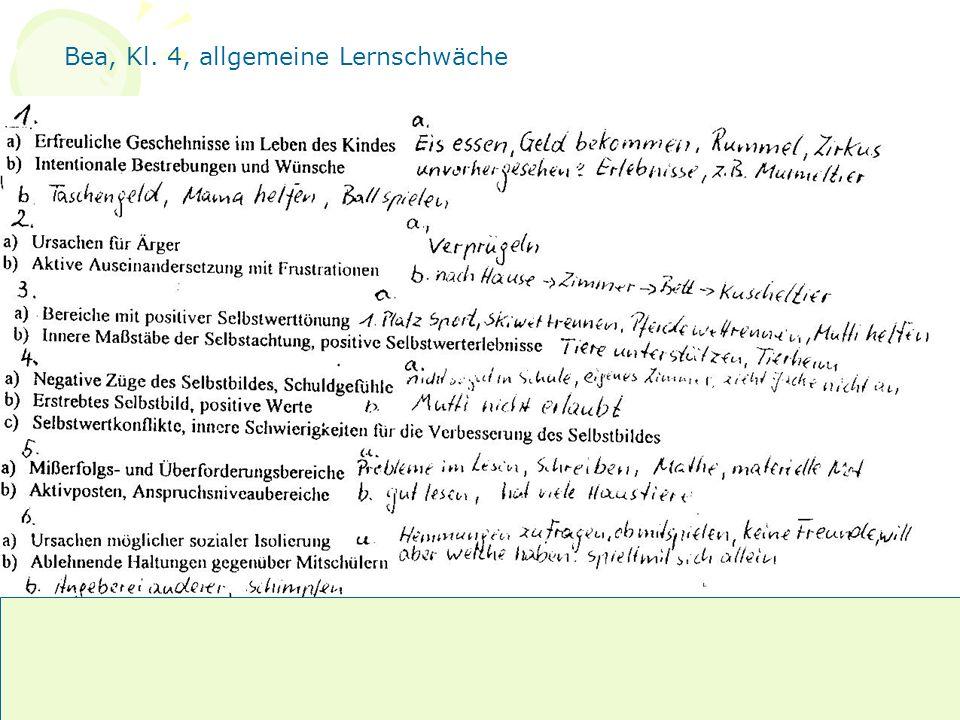 Bea, Kl. 4, allgemeine Lernschwäche