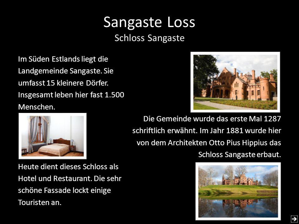 Sangaste Loss Schloss Sangaste Im Süden Estlands liegt die Landgemeinde Sangaste. Sie umfasst 15 kleinere Dörfer. Insgesamt leben hier fast 1.500 Mens